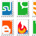 Stamp Social Vector Bookmarks