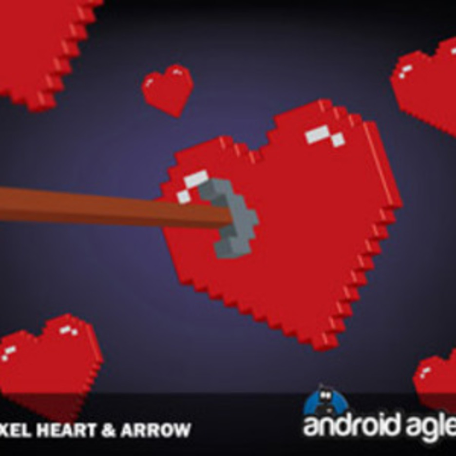 Vector 3D Pixel Heart And Arrow