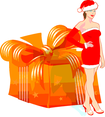 Santa Girl With Gift Vector