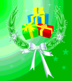Xmas Gifts And Wreath Vector