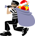 Thief With Xmas Presents Vector