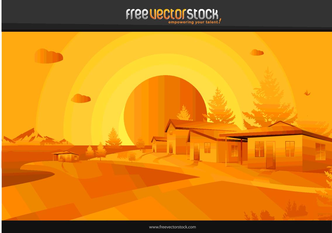 Orange Landscape Vector