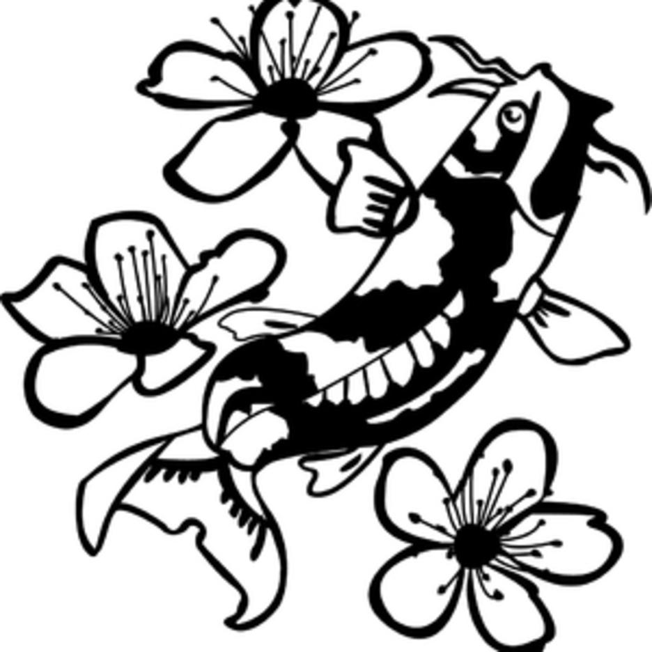 Koi Fish Among Flowers