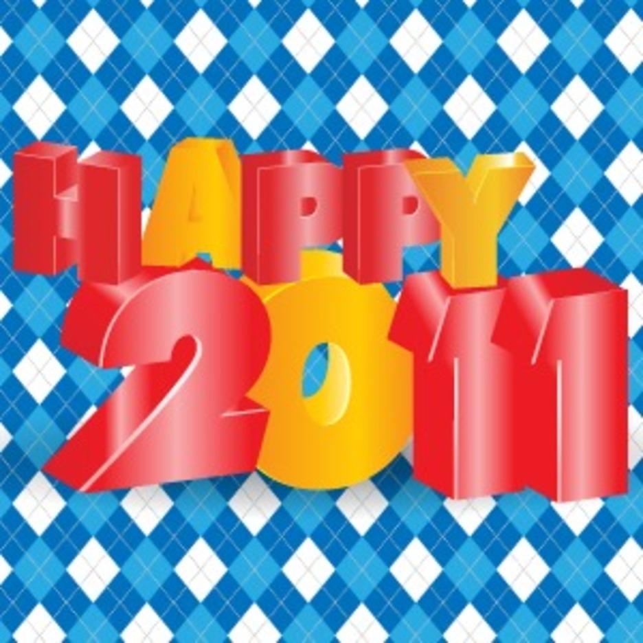 Happy 2011 3D Vector Typography Design