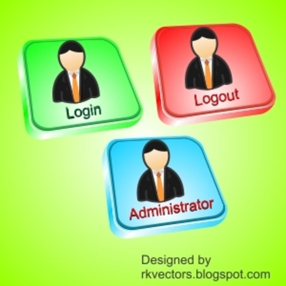 Vector Login, Logout, Administrator Button   FreeVectors