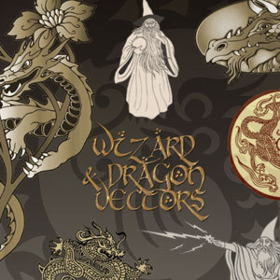 Dragon & Wizard Vectors
