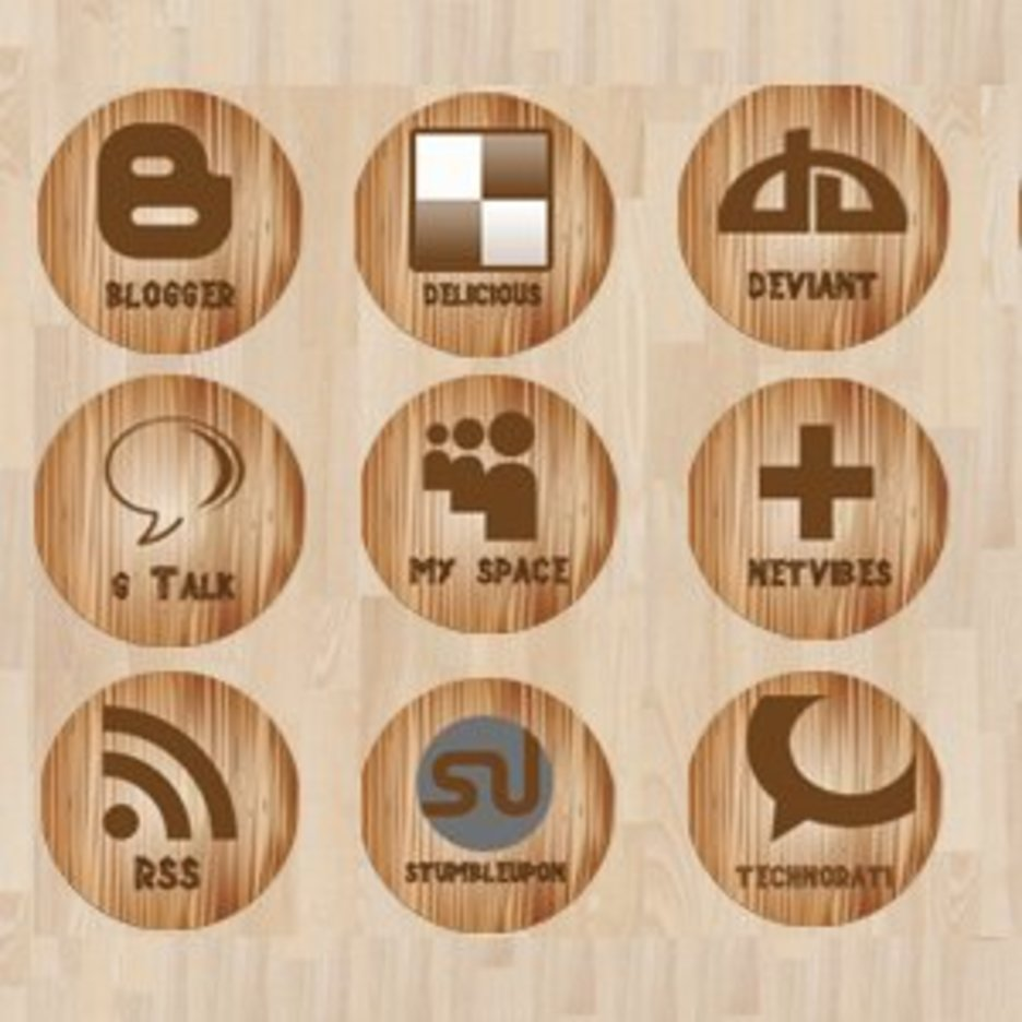 Wooden Social Media Icons
