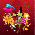 Vector Woman Silhouette On Abstract Flower Background