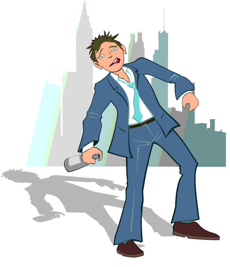 Drunk Man In The City Vector