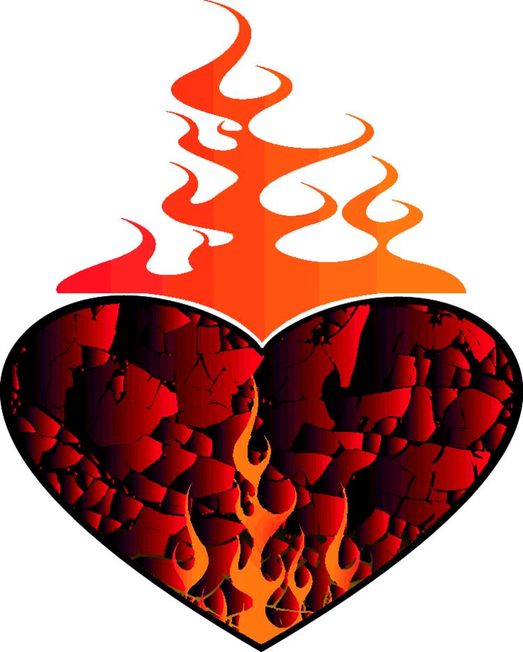Heart On Fire Vector Clip Art