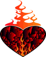 Heart On Fire Vector Clip Art