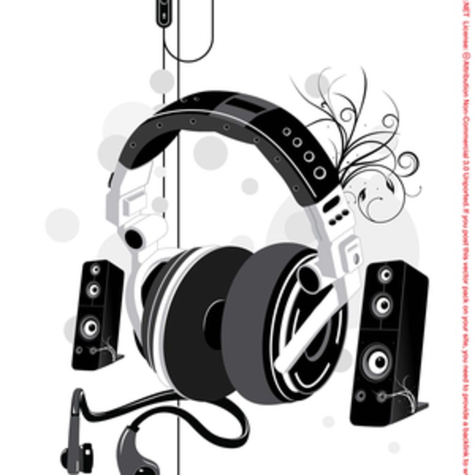 Free Music Headphone & Speakers Vector Illustration
