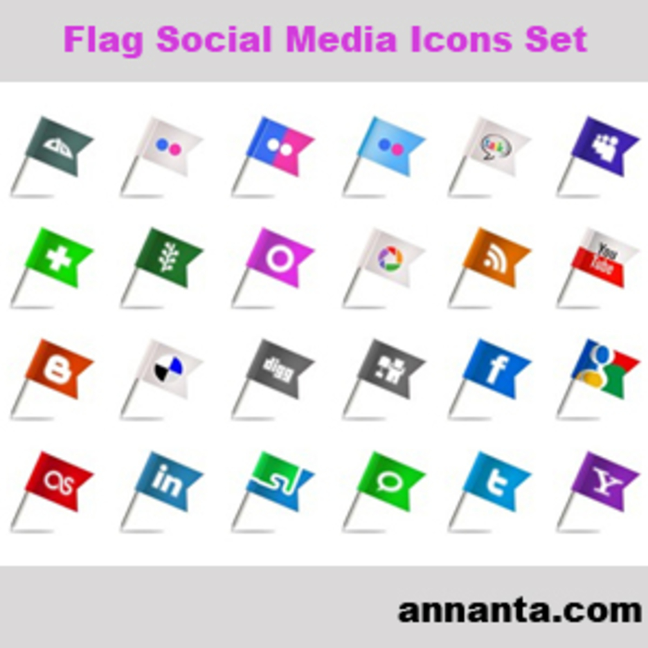 Flag Social Media Icons Set