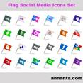Flag Social Media Icons Set