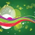 Green Background With Colored Abstract Lines
