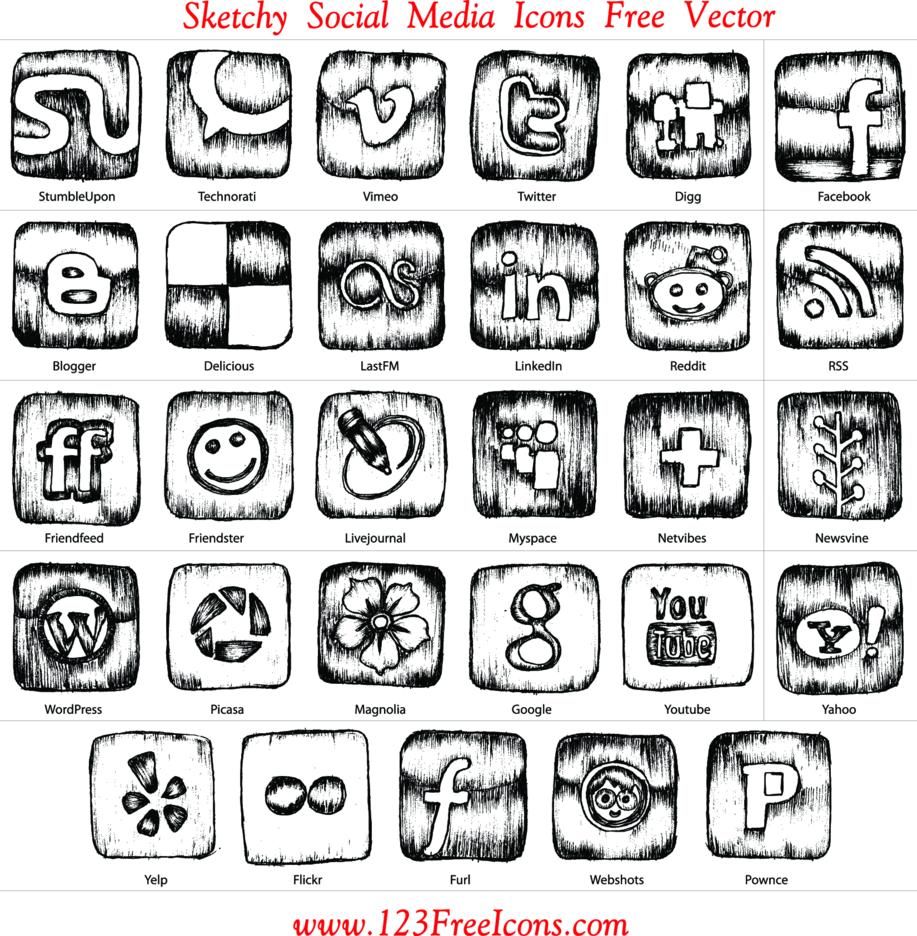 Sketchy Social Media Icons Free Vector