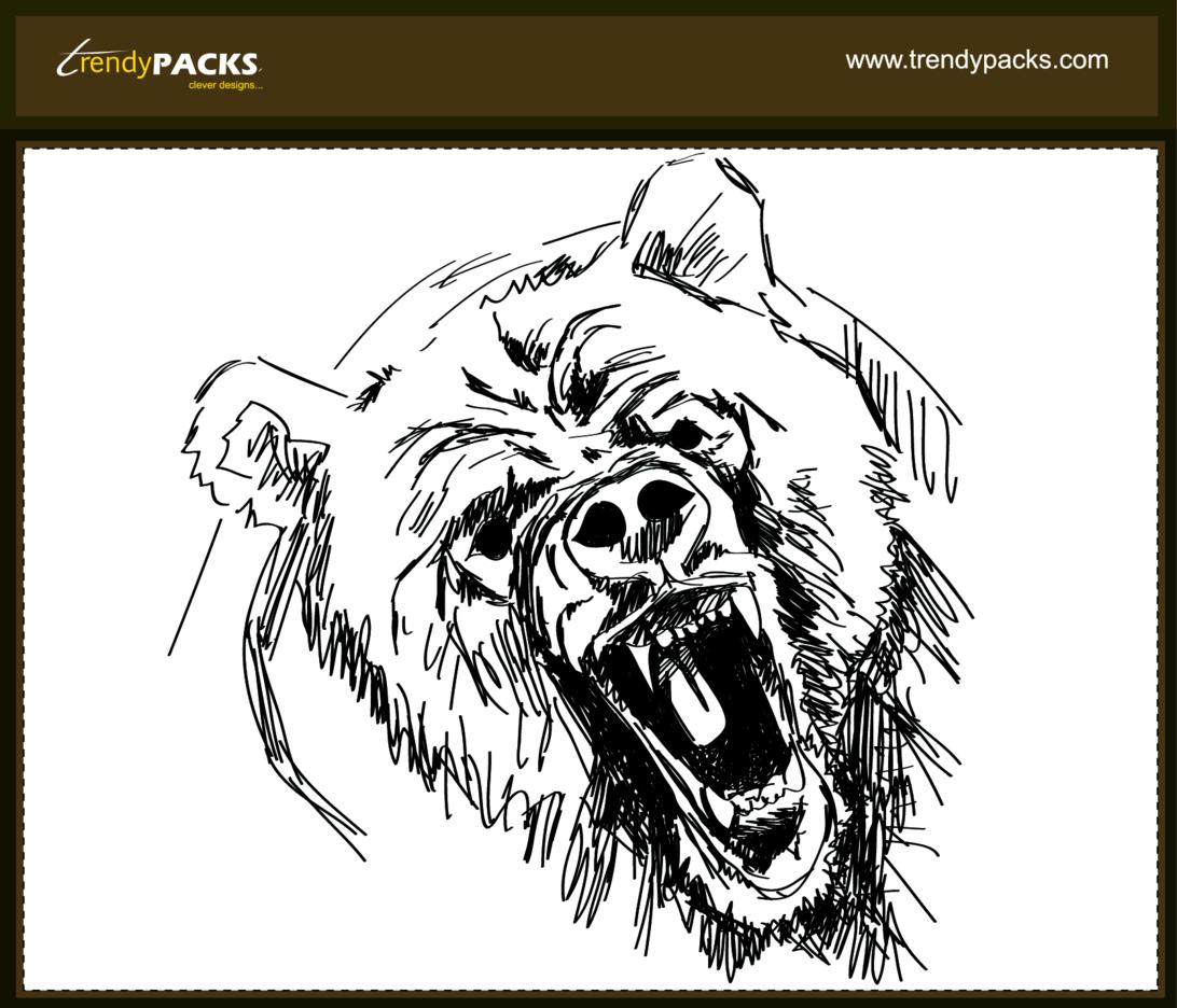 Angry Bear - Hand Drawn