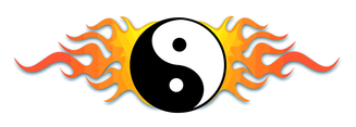 Ying Yang Symbol On Fire Vector