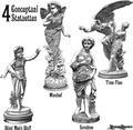 4 Statuette Vectors Portraying 4 Concepts