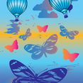 Hot Air Balloons And Butterflies