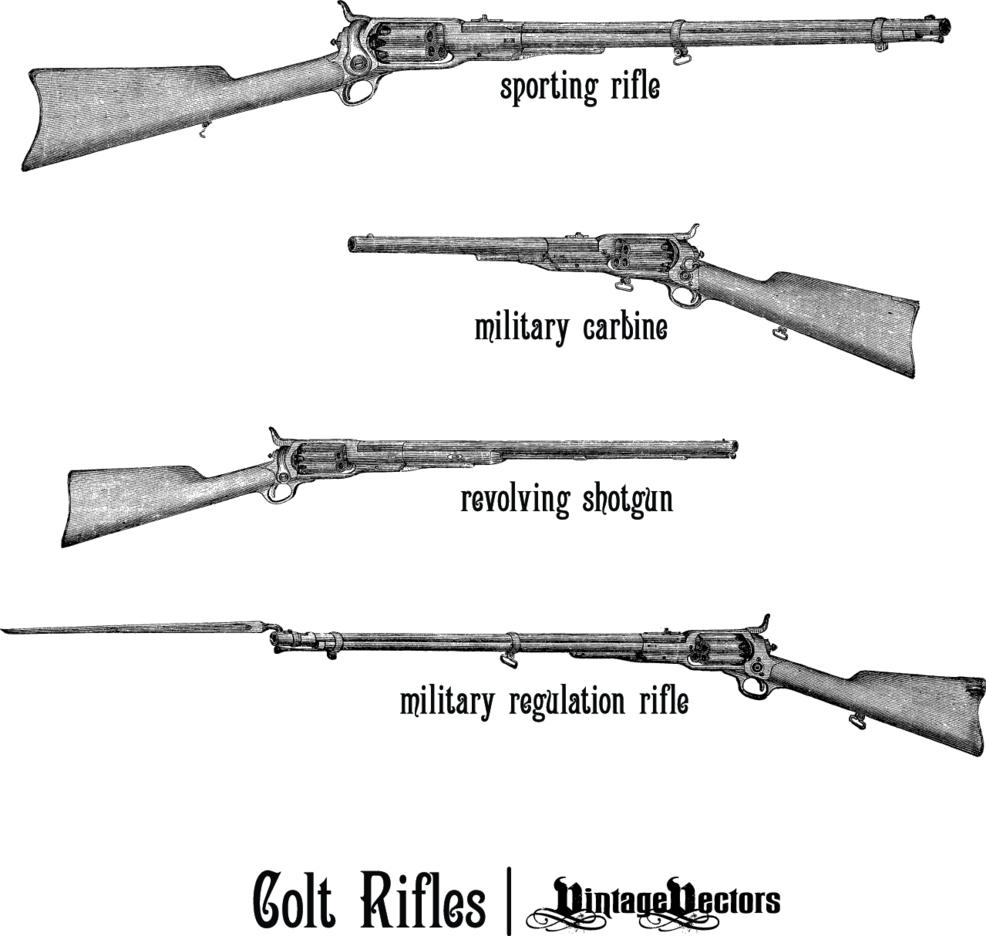 Old Colt Rifles And Revolving Shotgun