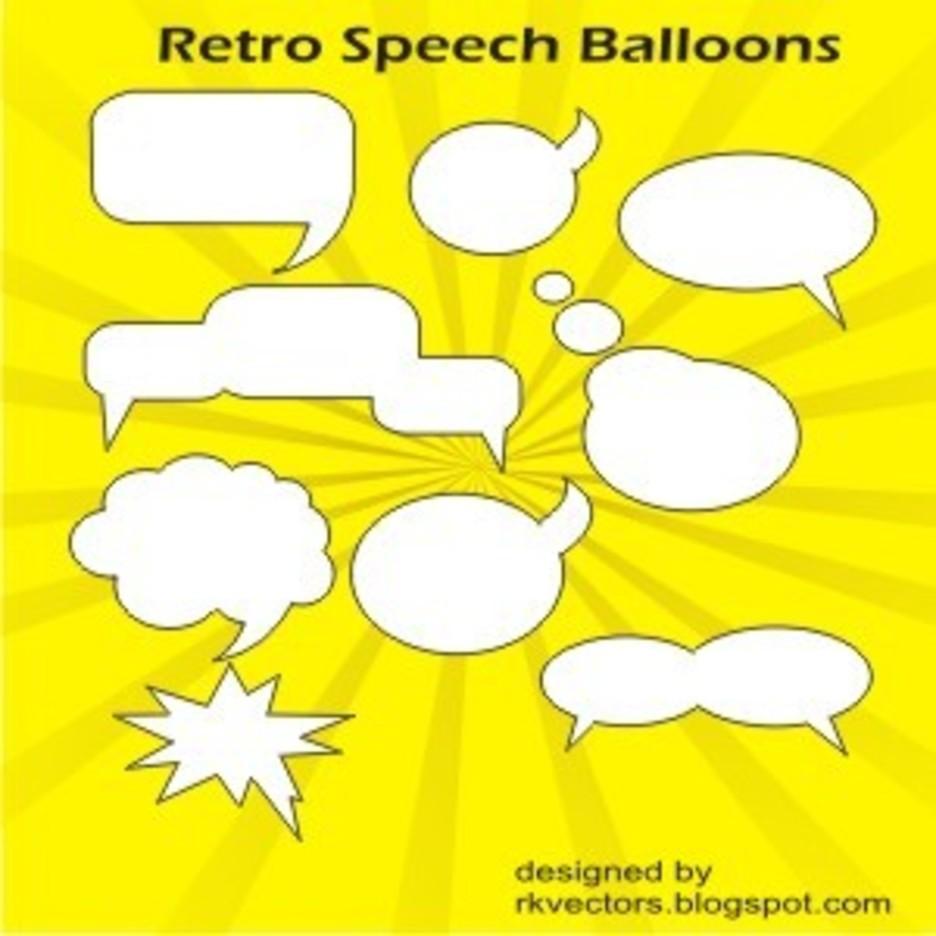 Vector Retro Speech Balloons