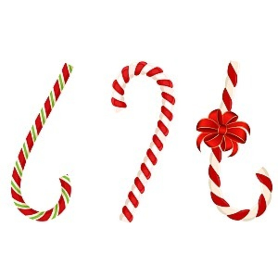 Set Of Christmas Candy Cane With Bow