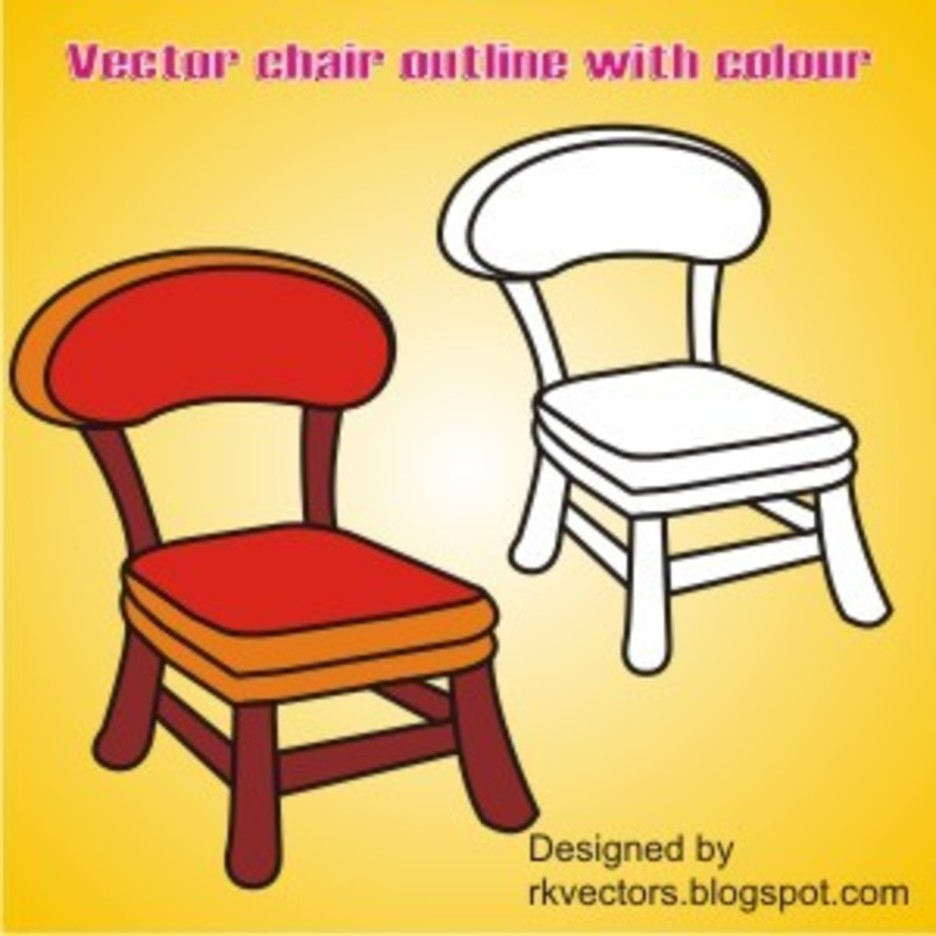 Vector Outline Chair With Colour