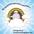Sky Background With Clouds And Rainbows