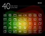 White Web Outline Icon Vectors Set
