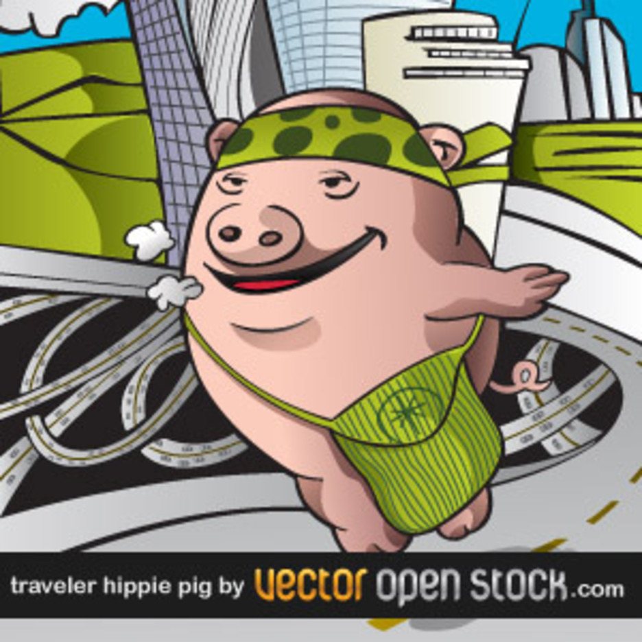 Pig Hippie Traveling The World