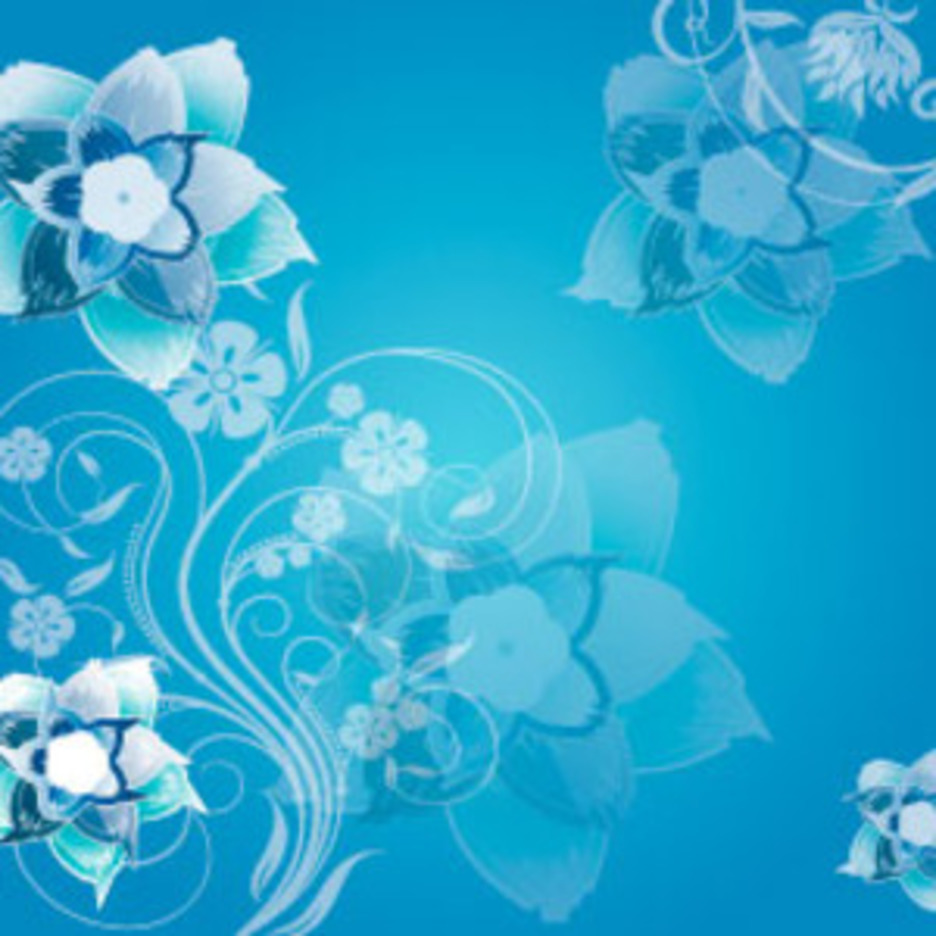 Blue Flowers Swirly Vector Art Background