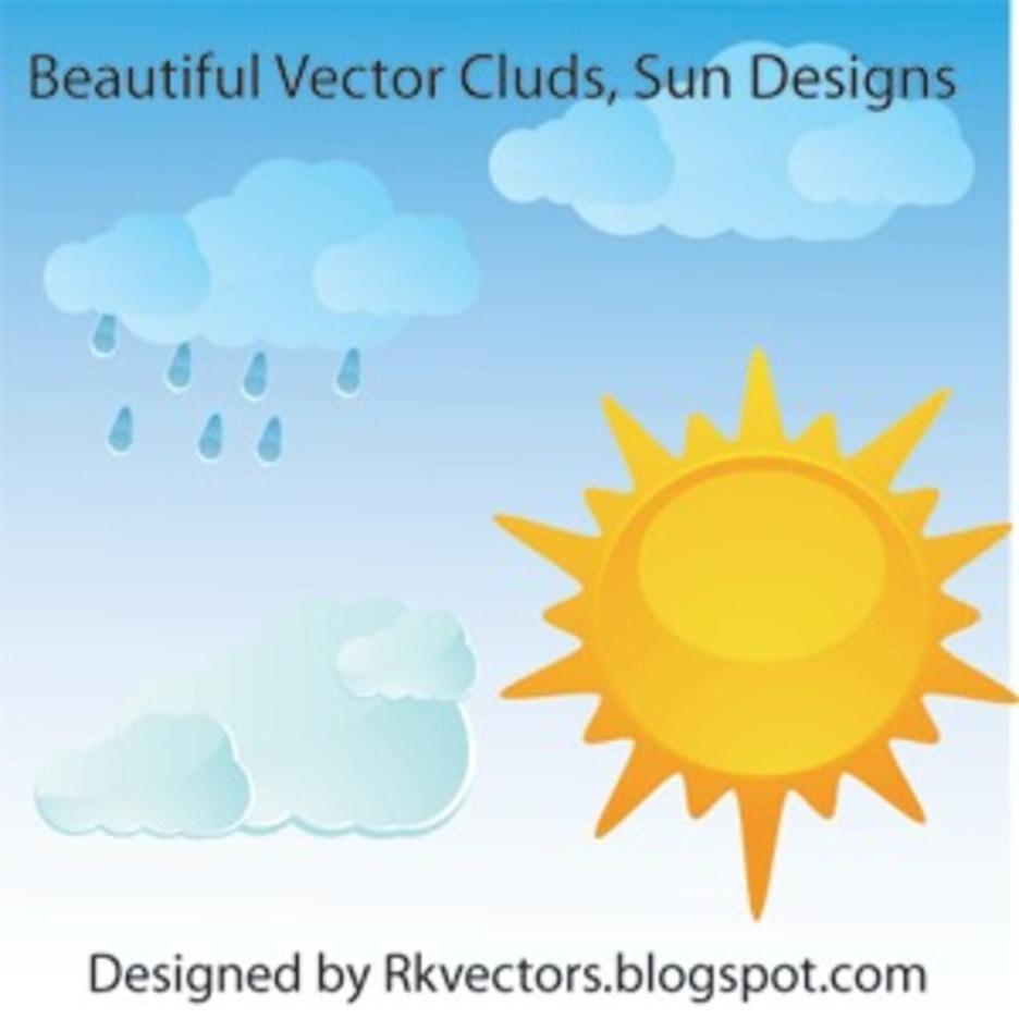 Beautiful Vector Clouds, Sun Designs