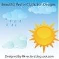 Beautiful Vector Clouds, Sun Designs