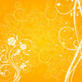 Orange Floral Swirly Shape Vector Background