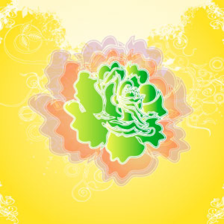 Shadow Green Flower Vector Background