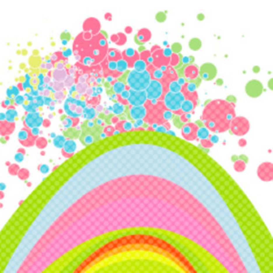 Rainbow & Bubbles Vector Background