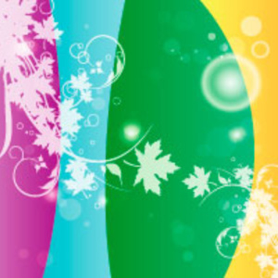 Flower In Four Colors Vector Background