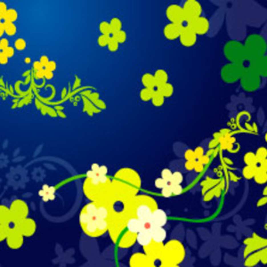 Floral Vector In Blue Background
