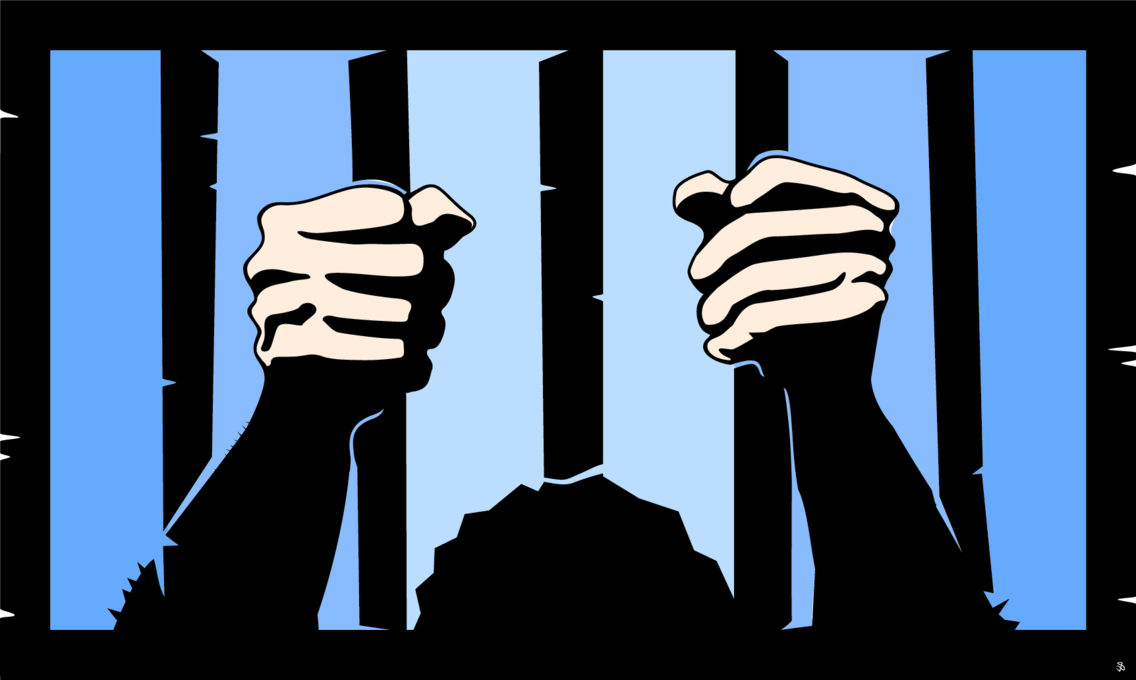 Hands Behind Prison Bars Vector
