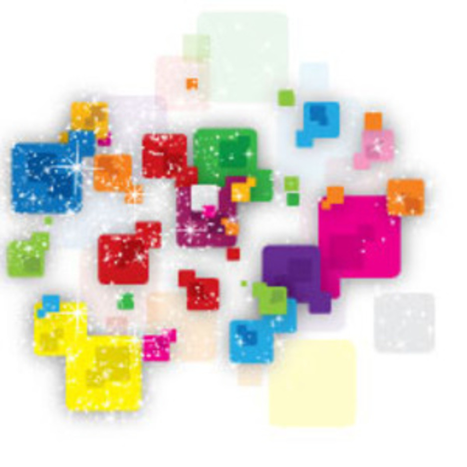 Coloreful Round Squares With Shinnig Stars Vector Design
