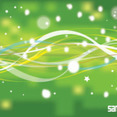 Abstract Green Nature Line With Stars Vector Background