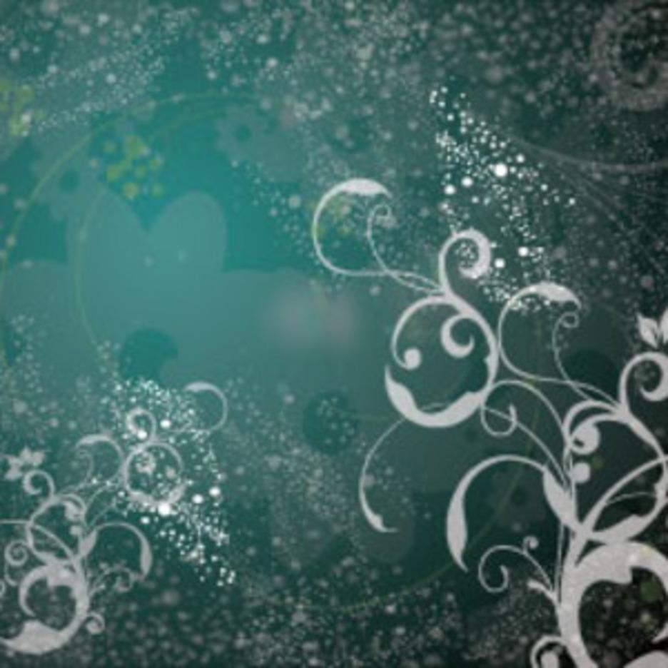 Transparent Flowers In Dark Green Design