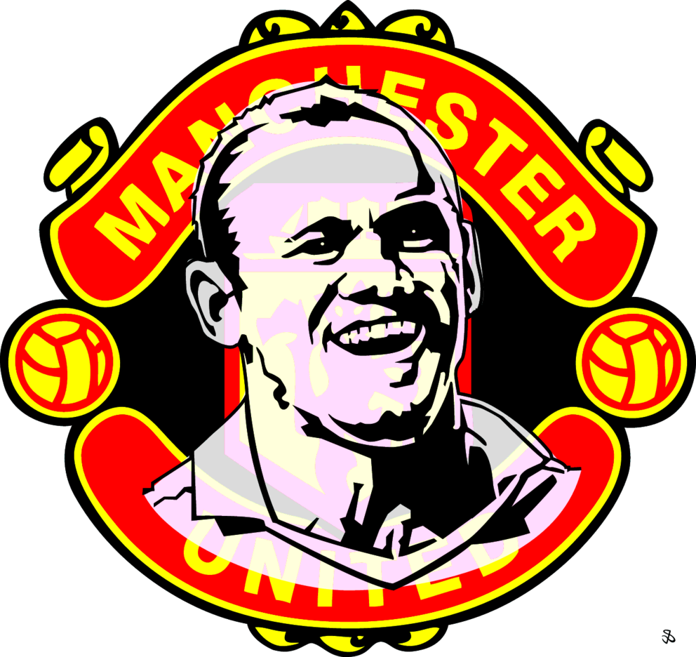 Man Utd Logo And Wayne Rooney Portrait