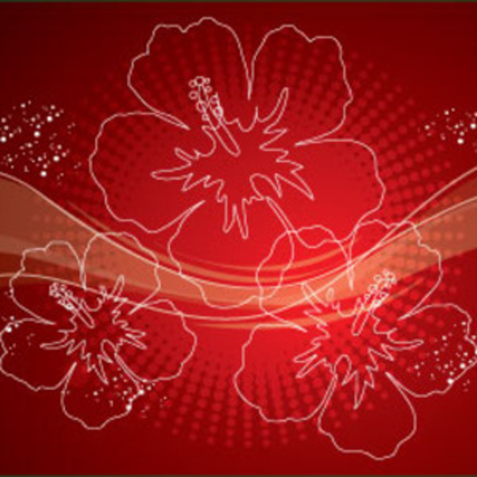 Red Ornament Flowers Free Vector Design