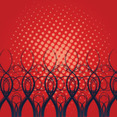 Black Swirls In Red Dotted Vector