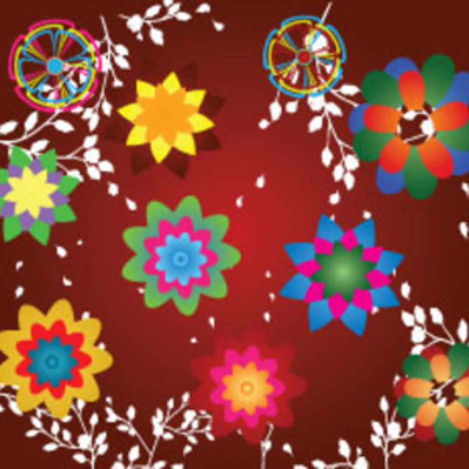 Colored Flowers In Red Dark Background