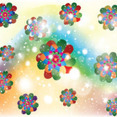 Colored Flowers In Abstract Shinning Vector
