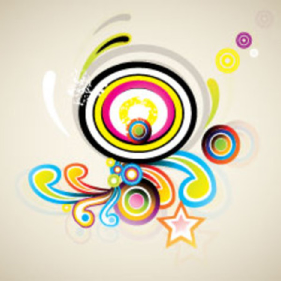 Retro Swirls Vector In Clear Design