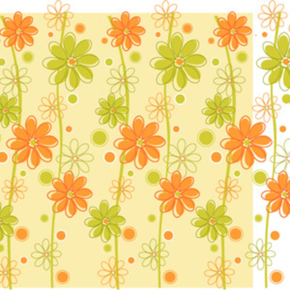 Green & Orange Floral Background